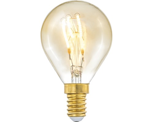 COTTEX LED-lampa Curly filament amber klot E14, 4W 150lm stepdim