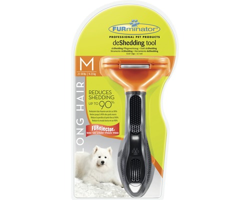 FURminator Dog Tool Long Hair stl M, svart/orange