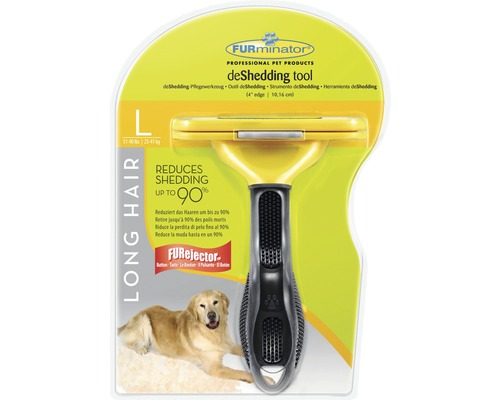 FURminator Dog Tool Long Hair stl L, svart/gul