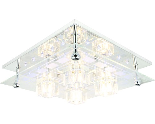 FLAIR taklampa 4x20W, krom/transparent